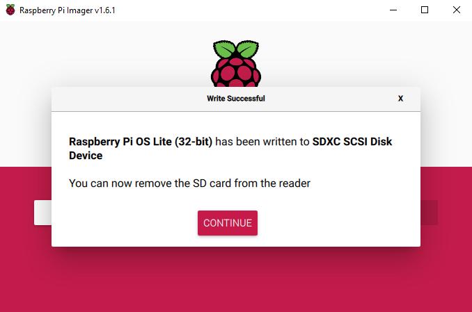 Raspberry PiのOS初期インストール画面